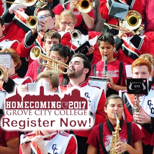 Registration is now open for Grove City College's Homecoming – Oct. 6-8, 2017. Visit http://alumni.gcc.edu/homecoming for more information.
