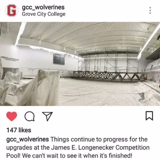 #repost from @gcc_wolverines: Lots of big projects happening on campus this summer, including a renovation of the James E. Longnecker Competition Pool!
